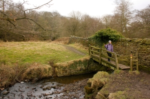 Crossing a stream, Lyme Park