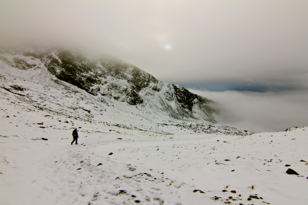 Nich descends from Scafell Pike.